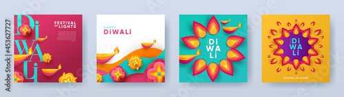 Fotografering Happy Diwali Hindu festival modern design set in paper cut style with oil lamps on colorful waves and beautiful flowers of lights