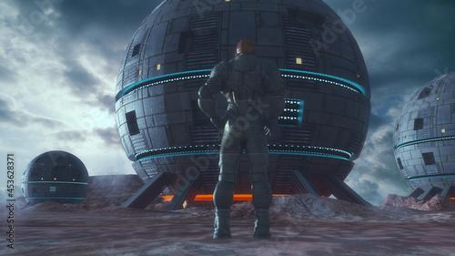 Billede på lærred 3d render. Colony of humans on a planet