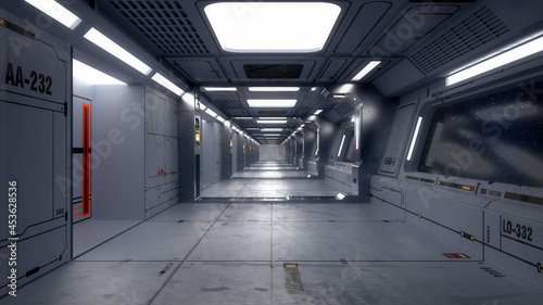 Fényképezés 3d render. Futuristic spaceship corridor interior design