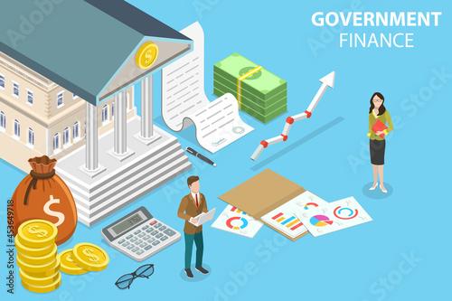 Tela 3D Isometric Flat Vector Conceptual Illustration of Government Finance, Public M