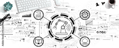 Smart industry concept with a computer keyboard