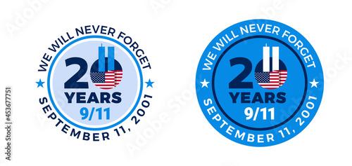 Fotografie, Tablou 9-11 badge label 20 years of September 11, 2001 - 9 11 Memorial Patriot Day - We