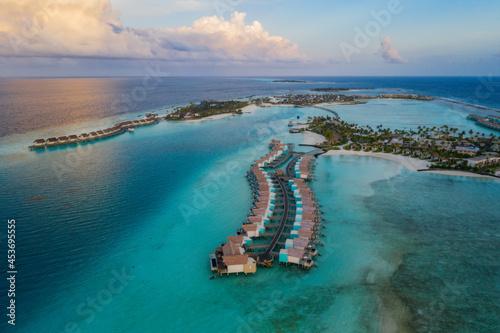 Fototapeta Amazing bird eyes view in Maldives island Eh'mafushi crossroads maldives at sunrise