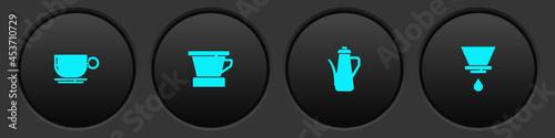 Billede på lærred Set Coffee cup, V60 coffee maker, Teapot and icon. Vector
