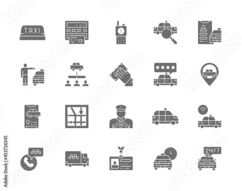 Vászonkép Set of Taxi Gray Icons