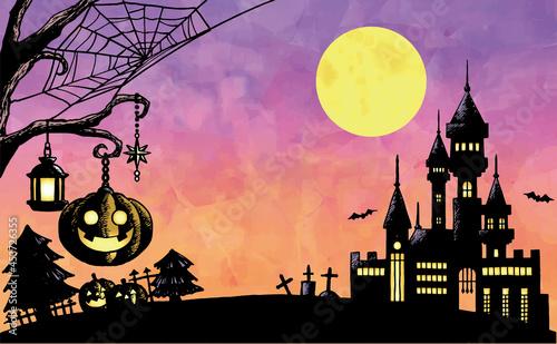 Fotografia 満月とかぼちゃとお城 ハロウィンのイラスト