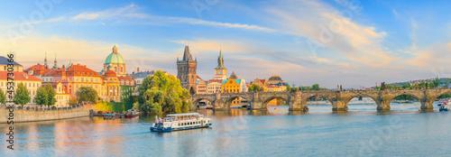 Canvas Famous iconic image of Charles bridge and Praguecity skyline
