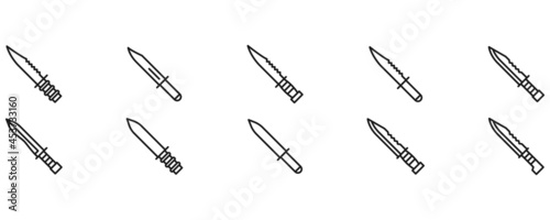 Cuadros en Lienzo Set of knife bayonet military weapon vector collection