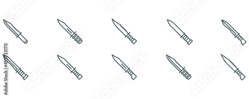 Canvastavla Set of knife bayonet military weapon vector collection