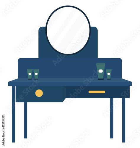Fotografiet Blue dressing table, illustration, vector on a white background.