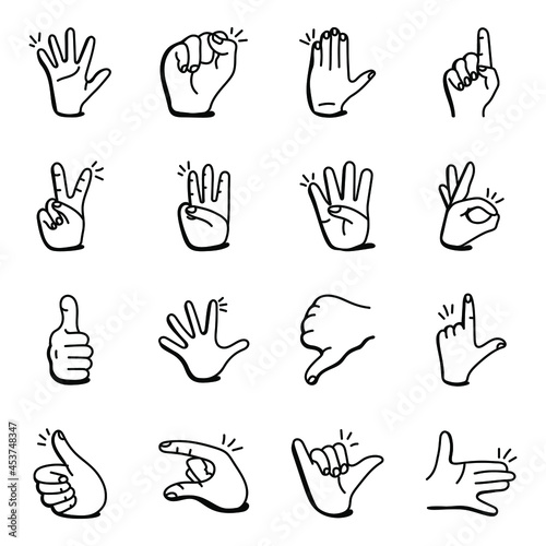 Set of 16 Hand Gesticulations Doodle icons Fototapeta