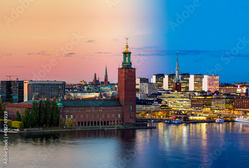 Fotografia Time-blend composite photo of the city hall and downtown district in Stockholm,