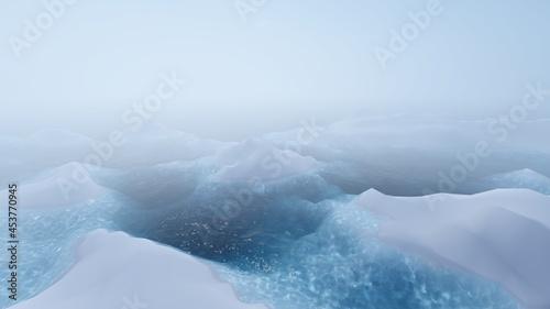 Fotografering Scenic landscape ocean and glacier 3d render