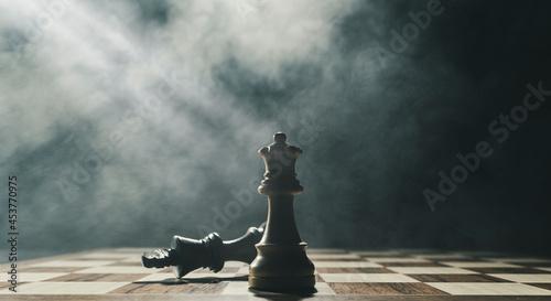 Fototapeta premium White king checkmates the black king