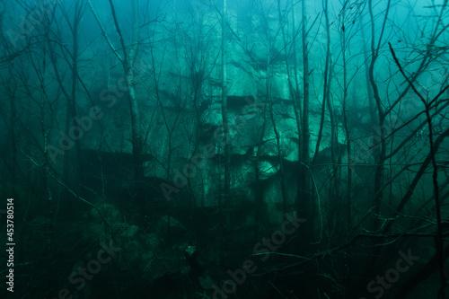 Fototapeta rock wall under water in a mining quarry