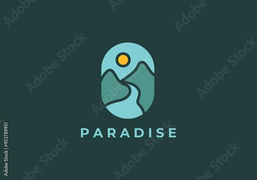 Billede på lærred Emblem mountain and river landscape adventure modern logo icon vector template