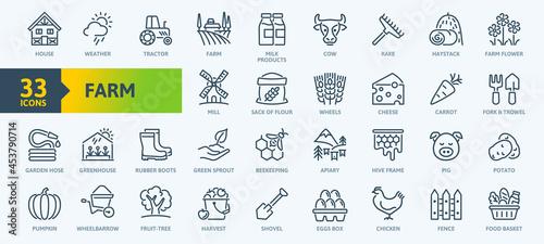 Fotografie, Tablou Farm, Farming, Agriculture - thin line web icon set