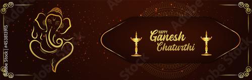 Photo Happy ganesh chaturthi celebration banner