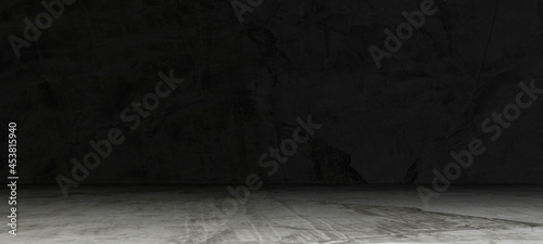 Empty dark abstract cement wall and studio room interior texture for display products wall background.