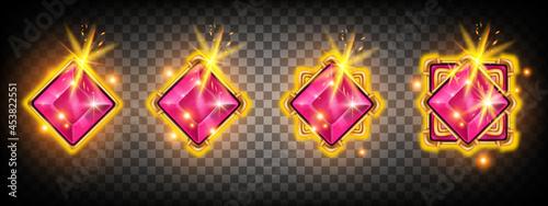 Photo Game gem crystal stone vector set, UI jewel treasure achievement badge design, magic royal jewelry