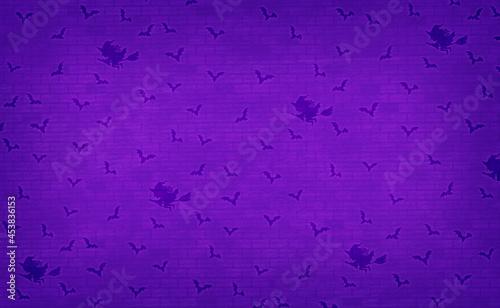 Fotografiet 魔女とコウモリのシルエット、かわいいパターンのハロウィン背景、紫色
