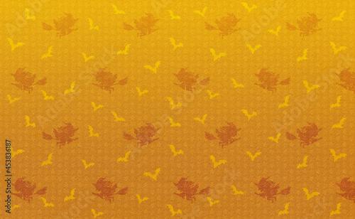Tableau sur Toile 魔女とコウモリのシルエット、かわいいパターンのハロウィン背景、オレンジ色