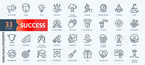 Fotografía Web Set of Success, Goals and Target Related Vector Thin Line Icons