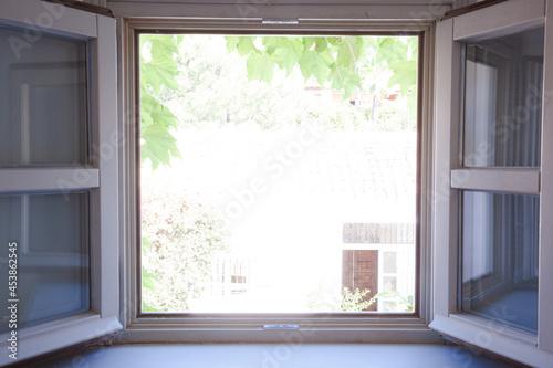Obraz na plátne View of courtyard through window