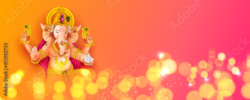 Photo Lord Ganpati background for Ganesh Chaturthi festival of India with message mean