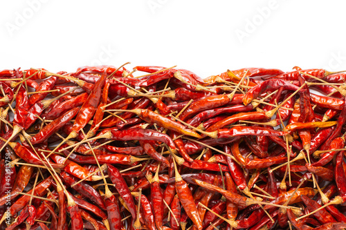 Foto Top view of dried chili on white background