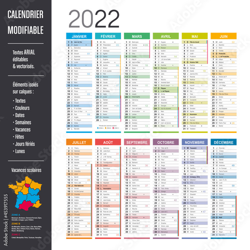 Foto Calendrier 2022 modifiable - Eléments isolés sur calques, textes en Arial, éditables et vectorisés