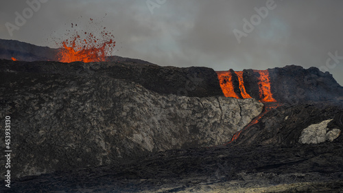 Canvas Print Impressive aerial view of the exploding red lava from the Active Volcano in Icel