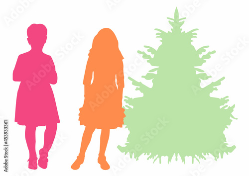 Silhouette of a girl (girls, women) in evening dress and a Christmas tree Fototapet