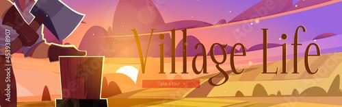 Fotografija Village life web banner, villager chop firewood