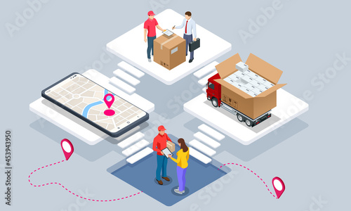 Fotografia Global logistics network isometric illustration