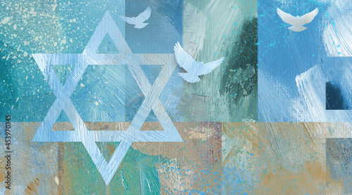 Photo Graphic abstract Star of David  background with three doves