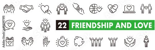 Friendship partnership handshake and love line icons. Fototapet