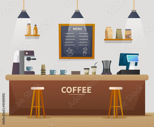 Tela Coffee shop interior cartoon illustration