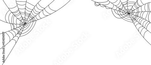 Fotografia, Obraz White Halloween Banner With Spider Web