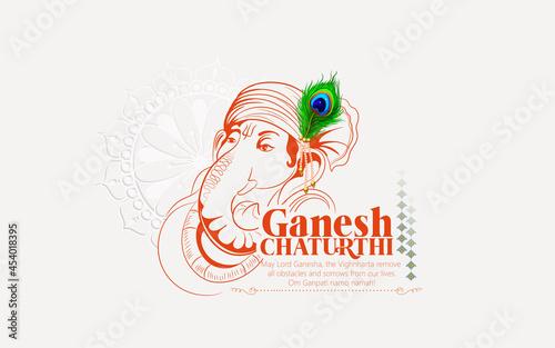 Photo illustration of Lord Ganesha background for Ganesh Chaturthi festival of India