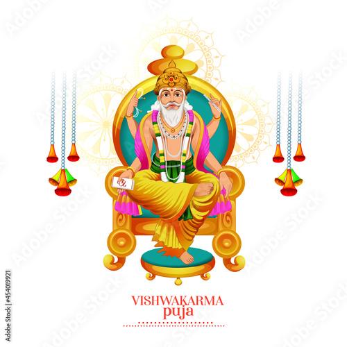 Fototapeta illustration of Hindu God Vishwakarma, celebration for Vishwakarma Puja, a Hindu