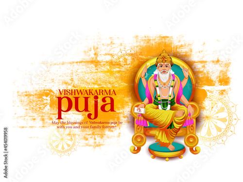Fotografia illustration of Hindu God Vishwakarma, celebration for Vishwakarma Puja, a Hindu