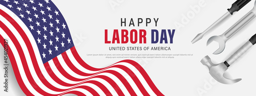 Fotografiet Happy labor day usa banner template design with usa flag and work equipment
