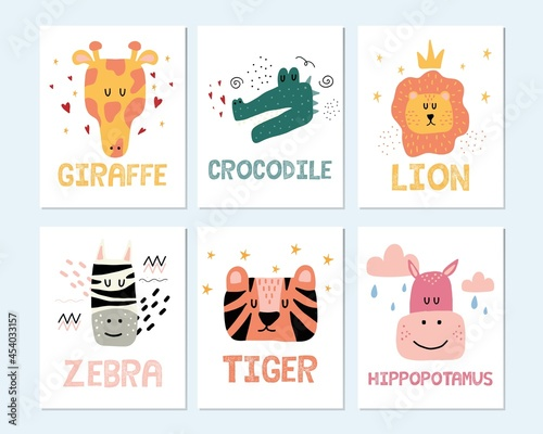 Fototapeta premium Childrens hand drawn jungle animals poster set. Posters with giraffe, crocodile, lion, zebra, tiger and hippo. The set is suitable for a childrens room.