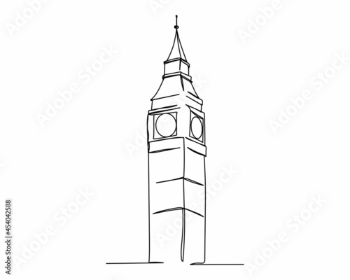 Foto Continuous one line drawing of big ben icon in silhouette on a white background