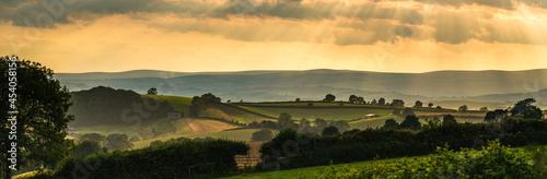 Obraz na płótnie Panorama of Torquay Fields in the rays of the setting sun, Devon, England, Europ