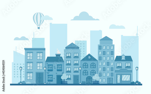 Flat banner with blue city street with buildings of different shapes in one color horizontal on light background for concept design. Vector illustration.