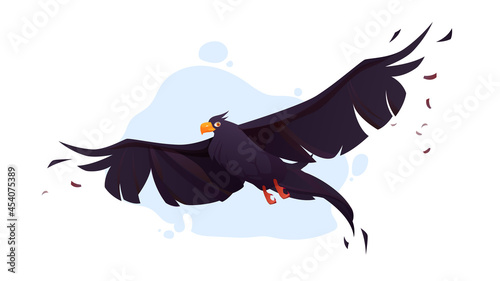 Fototapeta premium Crow with black wings fly in blue sky. Vector cartoon illustration of flying wild raven, bird with black feathers and orange beak in flight isolated on white background