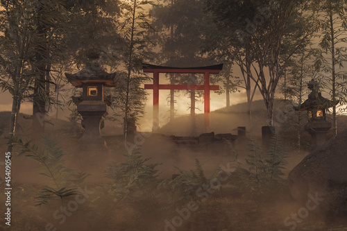 Canvas Print 3d rendering of an old japanese shrine with torii gate and stone lantern in the