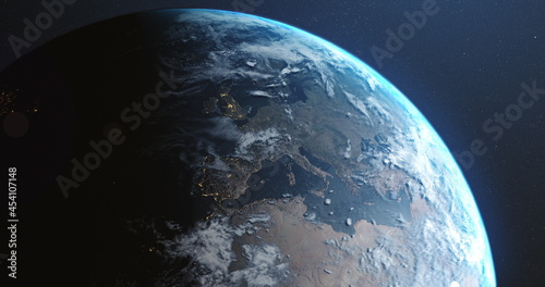 Image of earth seen from space, the globe spinning on seamless loop satellite view on dark backgroun